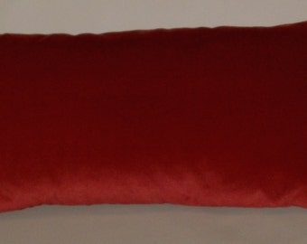 RTS cherry red, bright red velvet pillow, 20 x 12 inches square, upholstery weight velvet