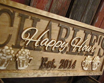 Personalized Bar Signs personalized wedding gift 3D beer Wood Sign Custom Bar Sign Gift for him her Gift personalized man cave sign lovejoys