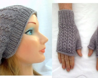 Slouchy Hat And Fingerless Texting Mitten Set Heather Gray Cables Eyelet Hand Knit Women Ladies Teens