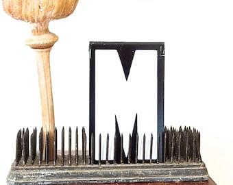 vintage sign letters, metal sign letters, old sign letters, black and white letters, letter M, capital M, vintage alphabet letters, initials