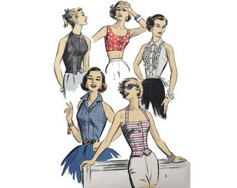 1950s Halter Tops Pattern Bombshell Summer Tops Pin Up Front Button Bare Shoulder V Back Midriff Advance 8309 Bust 32 Vintage Sewing Pattern