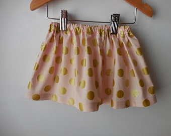 Baby and toddler skirt  pink with gold metallic dots