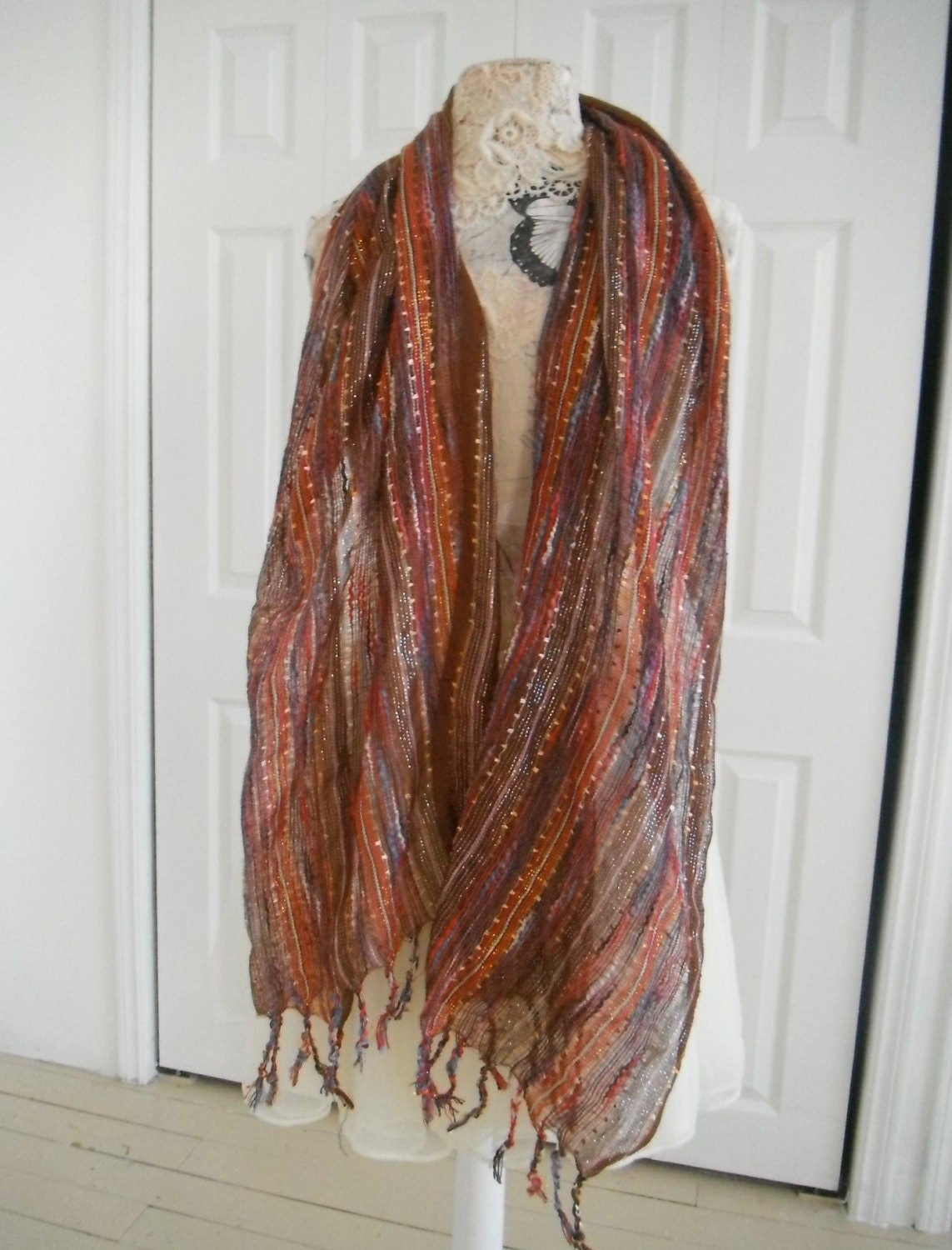 vintage boho scarf bohemian scarf weave by thewaterssong