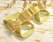 Gold Glitter Barefoot Sandals, Shiny Bows, Baby Stretchy Summer Shoes Frosted Over the Top First 1st Birthday Outfit Photo Prop Newborn Girl