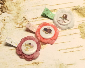 Desert Flower Hair Clip Set, Cake Tea Party, Little Baby Girl First Birthday Party, Toddler, mint green Pink Gold Polka Dot Non Slip cupcake