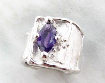 SALE Wide Band Marquise Amethyst Silver Ring, Silk,