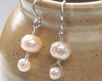 Pearl Earrings, June Birthstone, Freshwater Pearl Dangles, Classic Earrings, Pearl Silver Earrings, Prom Dance Graduation, Elegant Earrings