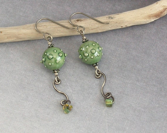 Green Ceramic Bead & Sterling Silver Earrings with Hypo Allergenic Titanium Earwires - Stylish Artist-made Jewellery