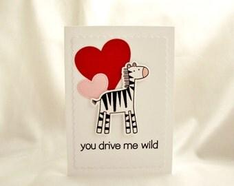 Valentine Card, Zebra Valentine Card, Cute Animal Valentine Card, Zoo Baby Valentine, Valentine's Day Card, Child Valentine Card,