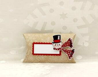 Pillow Box Gift Card Holder, Kraft Pillow Box, Gift Card Holder, Christmas Gift Card Holder, Vintage Snowman Gift Card Holder, Jewelry Box