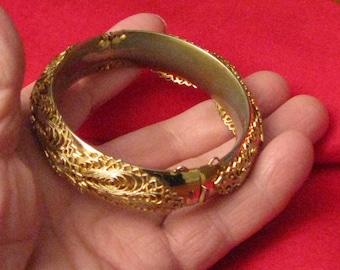 Vintage gold metal filigree bracelet