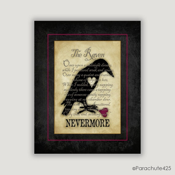 Nevermore, The Raven, Edgar Allan Poe, goth art gift, macabre art, library wall art, bibliophile gift, poetry, Valentine gift, Halloween art