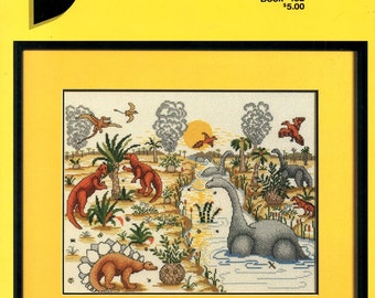 Dinorama Prehistoric Landscape Water Flying Dinosaurs Stegosaurus Plants Volcanoes Counted Cross Stitch Embroidery Craft Pattern Leaflet 152