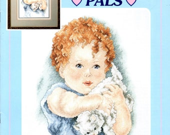 Bessie Pease Gutmann's Pals Red Curly Haired Blue Eyed Baby with White Kitten Counted Cross Stitch Embroidery Craft Pattern Leaflet 69