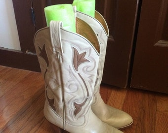 Reserved!Vintage Dan post cowboy boots stacked wood heel