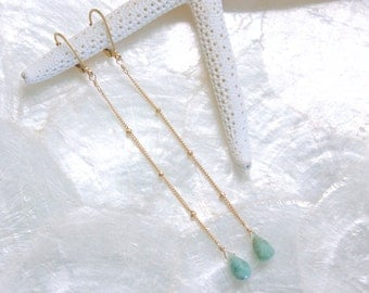 Shoulder Duster Style Columbian Emeralds and 14Kt Yellow Gold Filled Long Earrings Eco Friendly Recycled Gold Nickel Free Ready to Ship