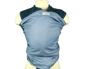 Baby Carrier Hybrid Stretch Wrap - Navy Steel - Comfort of a Stretchy Wrap w/ the Support of a Woven Wrap - Front and Back Carries- 8-35 lbs