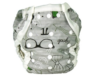 All In 2 Cloth Diaper Cover - #Geek - One Size PATENT PENDING Design Fits Newborn to Potty Training - AI2 Cloth Nappy Cover