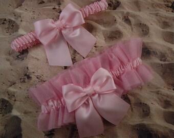 Pink Tulle PInk Satin Bridal Wedding Garter Toss Set