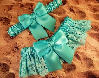Turquoise Aqua Satin Turquoise eyelet Lace Wedding Bridal Garter Toss Set