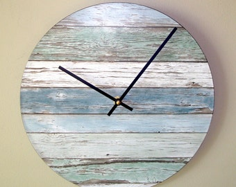 "SILENT Wall Clock, 10 or 12 Inch Beachy ""Wood"" Image Wall Clock in Soft Blues and Greens, Unique Wall Clock  (NOT Real Wood) - 2161"