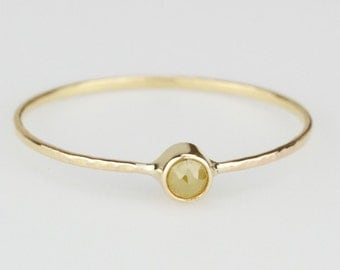 Delicate Rose Cut Yellow Diamond Stack Ring - Solid 14k Gold - Genuine Rose Cut Yellow Diamond - Rose or White or Yellow Gold - Tiny Dainty