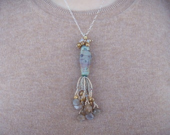 Handmade Borosilicate glass necklace, with Pearls, Feldspar, Swarovski and More!