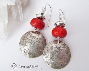 Red Coral Earrings, Sterling Silver Earrings, Modern Earrings, Silver & Red Earrings, Handmade Artisan Silver Jewelry, Unique Gifts for Her