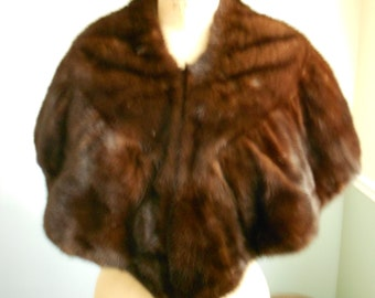 Mink Fur Stole / Chocolate Brown Capelet / Vintage 1950s Shawl Wrap  SALE