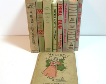 Beige Books, Instant Library Vintage Book Collection Home Decor Assortment