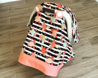 Coral and Gold Baby Girl Car Seat Canopy - Carseat Tent - FREE SHIPPING in USA
