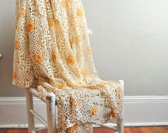 Vintage Antique Beautiful Crochet Bedspread Coverlet In Off White and Sunflower Orange Flowers