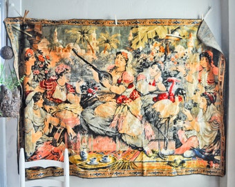Vintage 70s Velvet Tapestry Wall Hanging Persian Women with Instruments and Exotic Birds