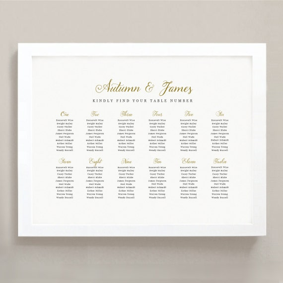 Printable Seating Chart Poster Template Romantic Script Word