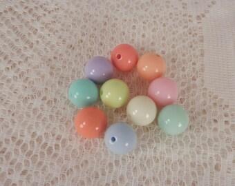 10 Pastel Round Beads,  8 mm, DIY Jewelry, Supplies, Acrylic Beads
