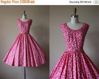 ON SALE 50s Dress - 1950s Vintage Dress - Pink Floral Print Polished Cotton Circle Skirt Party Dress XS - Miami Stroll Sundress