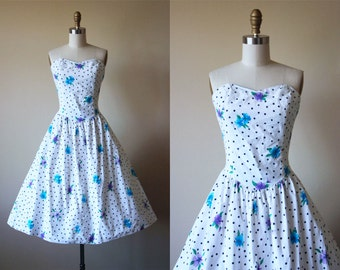 80s Dress - Vintage 1980s does 1950s Dress - Polka Dots and Violets Print Floral Cotton Strapless Sundress S - Summer Date Dress