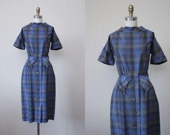 1950s Dress - Vintage 50s Dress - Soft Lambs Wool Grey Delphite Blue Plaid Dress w Fringed Bow M - Minx Modes Dress
