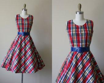 60s Dress - Vintage 1960s Dress - Red Blue Bias Cut Plaid Full Skirt Sundress S M - Madras Dress