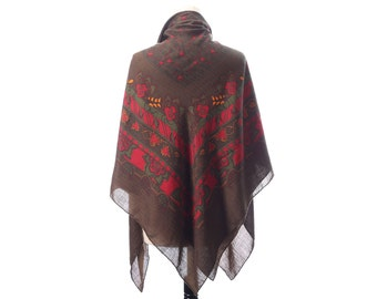 BOHEMIAN Wrap Scarf 90s Red Green Brown Boho WOOL Shawl Floral Print Shawl Extra Large Nomad Neck Wear 52 inch Womens Gift Urban Moms Gift
