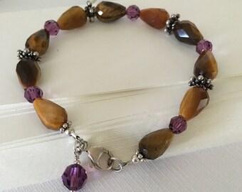 Bracelet-Gemstones and Crystals-Tigereye Teardrops-Swarovski Amethyst Round Crystals-Bali Silver-Lobster Clasp-February Birthday-Birthstone