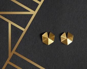 24k Gold Plated Silver Earrings, 24k Gold Plated Geometric Earrings, Gold stud Earrings, Minimalist Earrings, Statement Gold Earrings