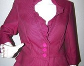 1980s T. Milano Hot Pink and Black 2 Piece Peplum Skirt Blazer Suit Set Size 6 Sexy Trendy Style Womens Fashion Business Office
