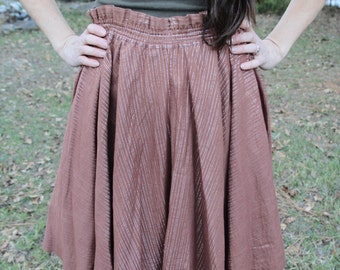 SILVERWOOD - 1970s AUTHENTIC India Cotton Gauze Skirt Caramel Silver Threads Pockets Hippie Boho Bohemian Gypsy Gurmeets San Francisco M L