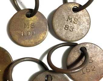 CHOICE of ONE Vintage Brass Key Tag Crane Institute Chicago IL