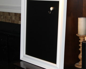 Large, White, Vintage Framed, Magnetic Chalkboard  Weddings/Home/Restaurant (22 1/4 x 25 1/2 inches)