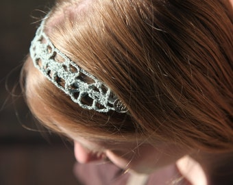 Teal crocheted headband