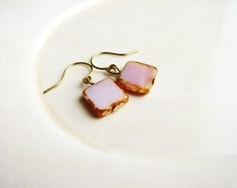 Pink Tile Czech Glass Earrings, Square Bead Earrings, Pink Earrings, Minimalist, Geometric, Earthy, Simple Design