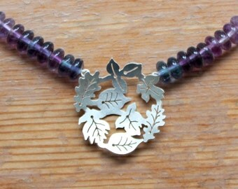 Silver Necklace with Fluorite - Silver Dancing Leaves Necklace - Silver Leaves Necklace with Fluorite Beads