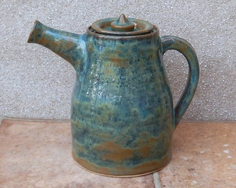 Teapot hand thrown in stoneware pottery ceramic tea pot